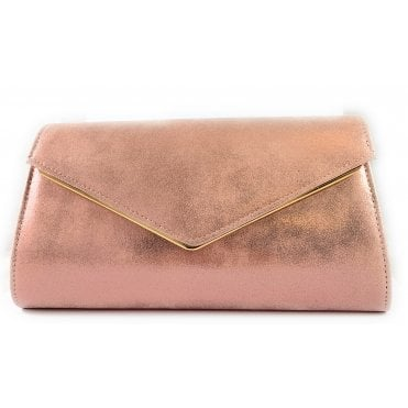 Nila Pink Metallic Clutch Bag