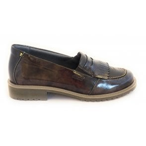 Nina Brown Patent Leather Loafer