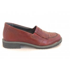 Nina Red Leather Loafer