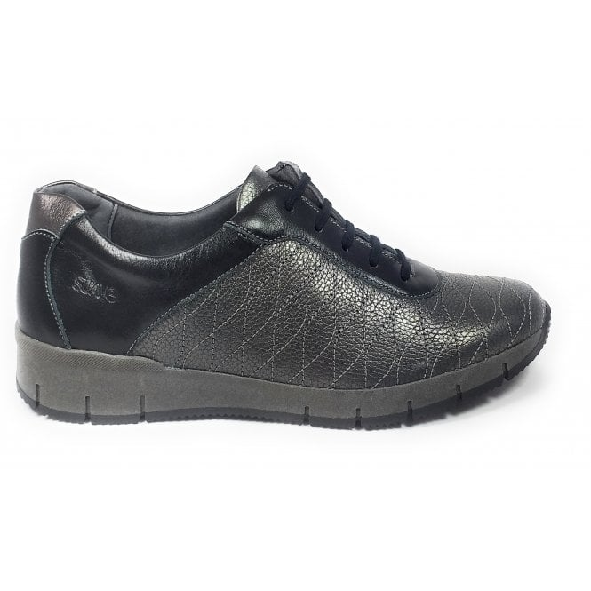 Suave Nisha Pewter Leather Lace-Up Casual Shoes