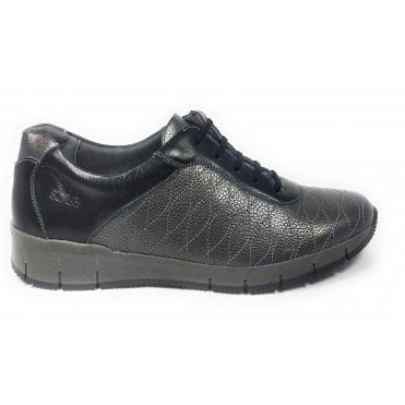 Nisha Pewter Leather Lace-Up Casual Shoes