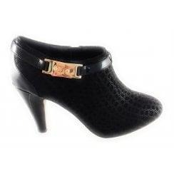 Nola Black Reptile Print Shoe Boot