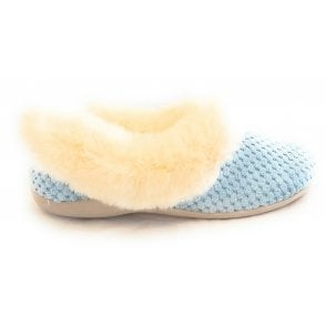 Nora Blue Textile Slipper