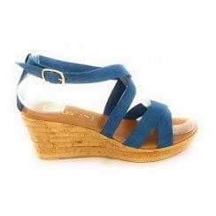 Nora Denim Blue Faux Suede Wedge Sandal