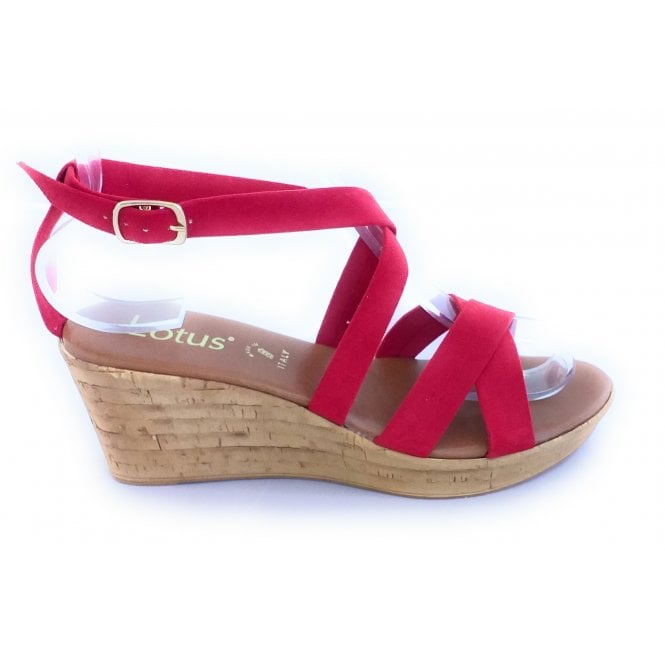 Lotus Nora Red Faux Suede Wedge Sandal