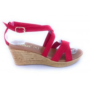 Nora Red Faux Suede Wedge Sandal