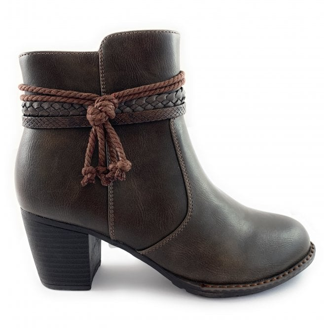 Lotus Odetta Brown Faux Leather Ankle Boot