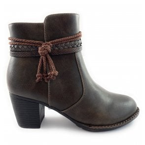 Odetta Brown Faux Leather Ankle Boot