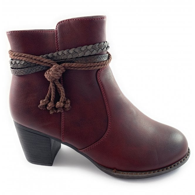 Lotus Odetta Red Faux Leather Ankle Boot