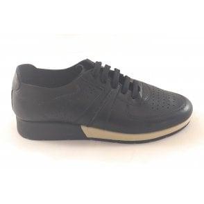 Off D Grid Black Leather Trainer