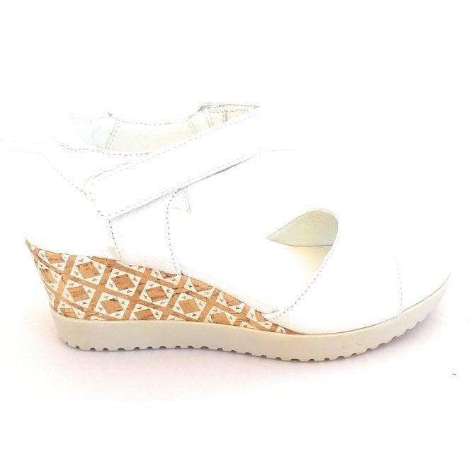 Aerosoles Off White Leather Wedge Sandal