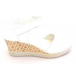 Off White Leather Wedge Sandal