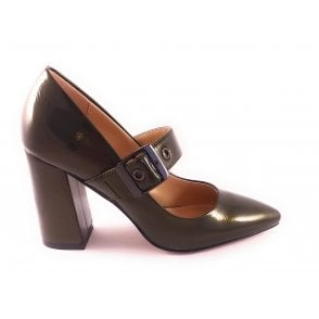 Olive Green Patent Mary-Jane Shoe