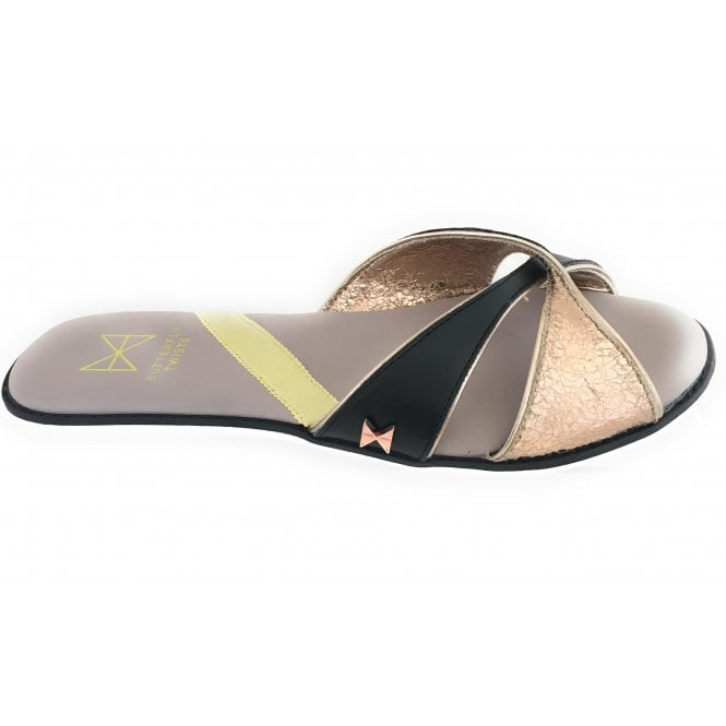 Butterfly Twists Ora Black and Rose Gold Metallic Mule