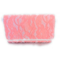 Orval Coral Lace Clutch Bag