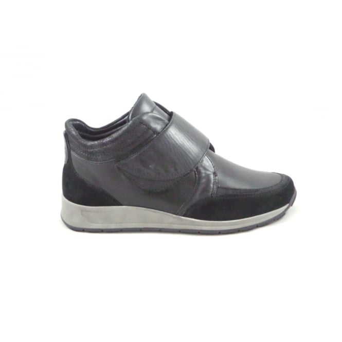Ara Osaka 12-44562 Black Leather and Suede Wide Fit Ankle Boot