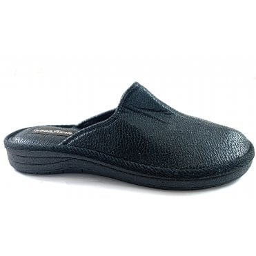 Oxley Mens Black Mule Slipper