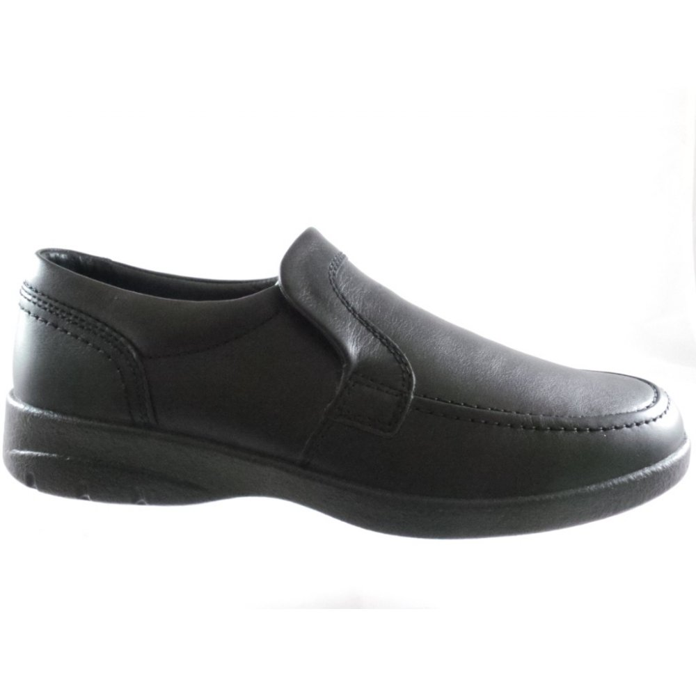 padders bruce black leather slip on casual shoe padders
