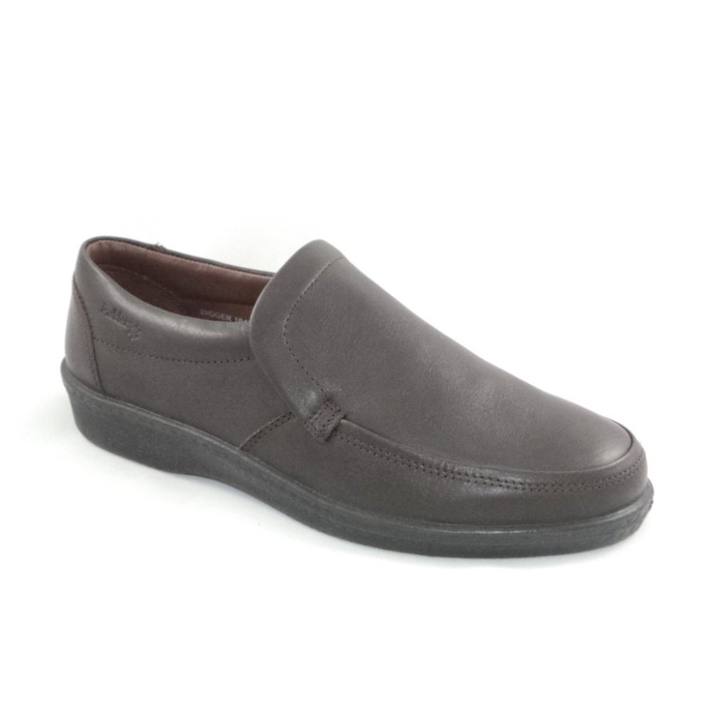 Padders Digger Dark Brown Leather Slip On Shoe Padders