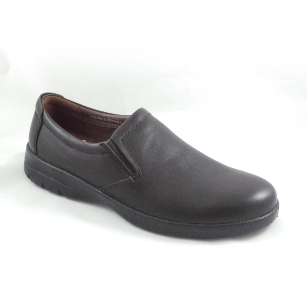padders taurus brown leather slip on casual shoe