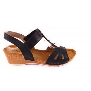 Padova Black Wedge Sandal