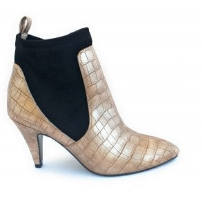Pale Gold Tanamo Croc Print Pull-On Boots