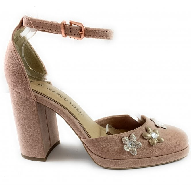 Marco Tozzi Pale Pink Court Shoe with Ankle Strap