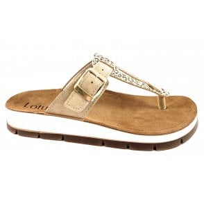 Palermo Beige and Gold Toe-Post Sandal