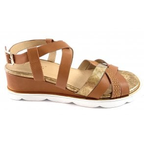 Pandora Tan and Gold Wedge Sandal