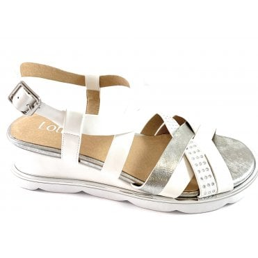 Pandora White and Silver Wedge Sandal