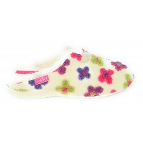 Pansy White Floral Mule Slipper