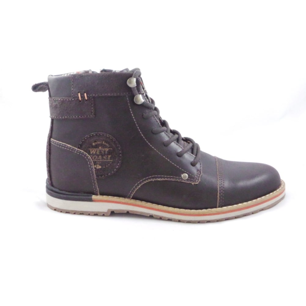 Pasadena Brown Leather Mens Lace Up Boot From