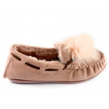 Paula Pink Faux Suede Moccasin Slipper