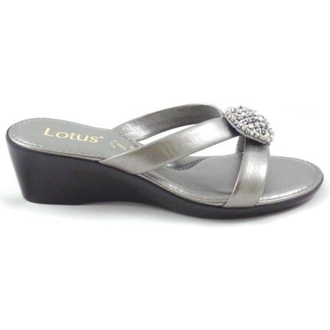 Lotus Pewter Open Toe Mule Wedge Sandal Lotus From