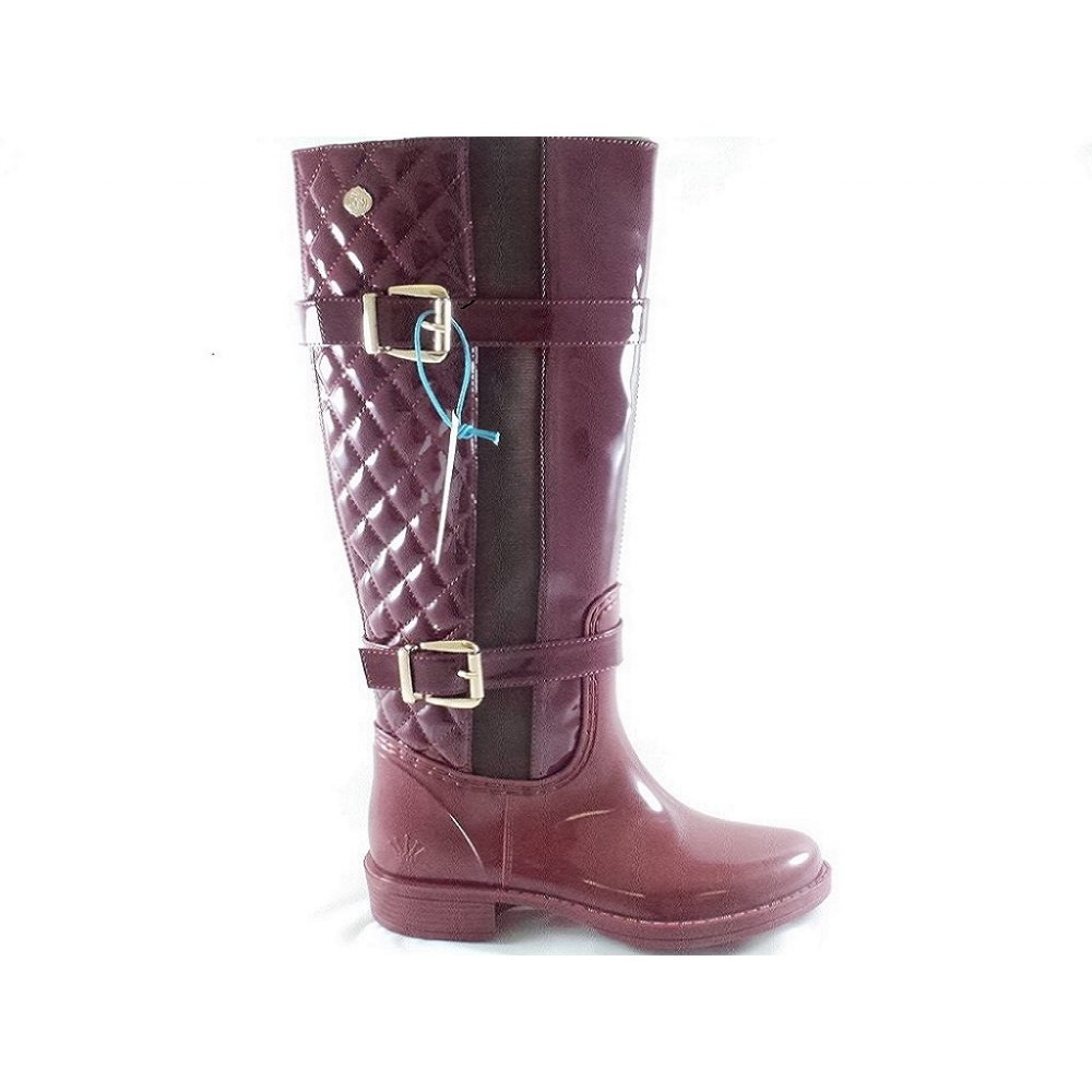 posh wellies burgundy quilted knee high boot