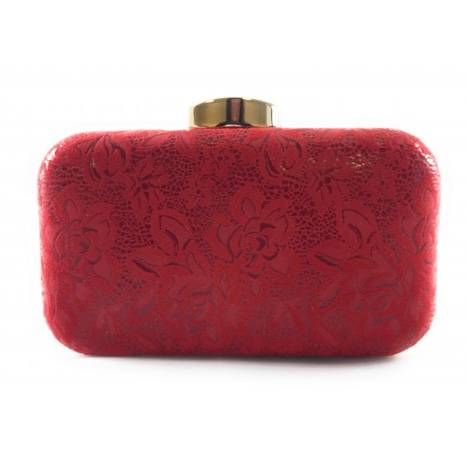 Lotus Puffin Red Floral Print Clutch Bag