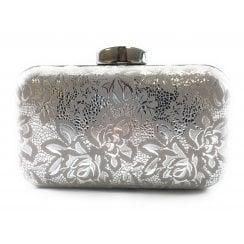Puffin Silver Floral Print Clutch Bag