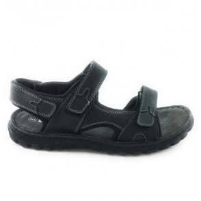 Quigley Black Leather Open Toe Raft Sandal