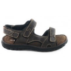 Quigley Brown Leather Open Toe Raft Sandal