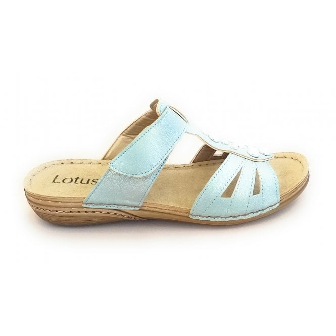 Lotus Rachelle Blue Metallic Mule Sandal