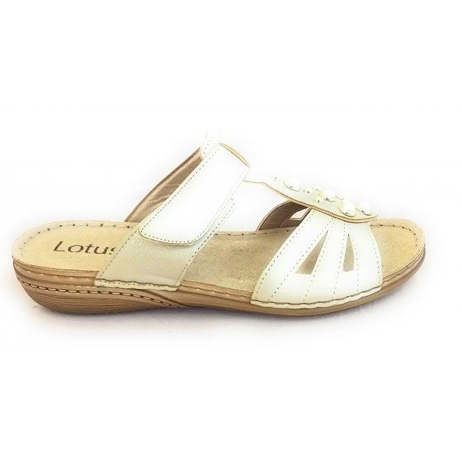 Lotus Rachelle Gold Metallic Mule Sandal