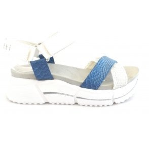 Raja 431-88181-6969 White and Blue Reptile Print Sandals