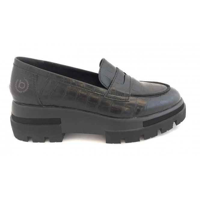 Bugatti Ranya 431-99460-5855-1083 Black Croc Print Loafers