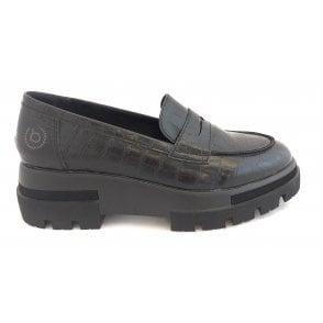 Ranya 431-99460-5855-1083 Black Croc Print Loafers