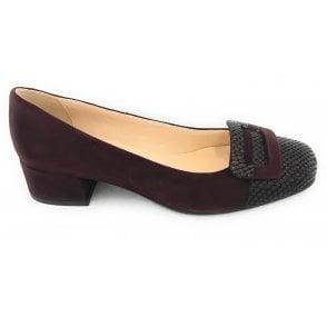 Rebecca Burgundy Suede Court Shoe