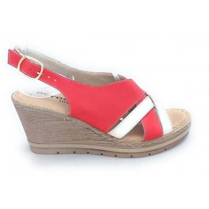 Aeros Red and Gold Leather Wedge Sandal