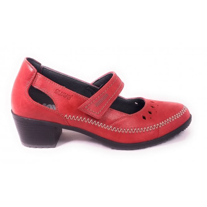 Suave Red Leather Heeled Casual Shoes