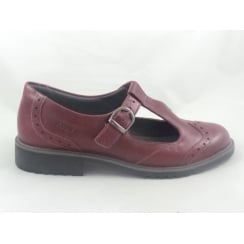 Red Leather T-Bar Casual Shoe