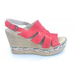 Red Leather Wedge Sandal