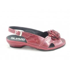 Red Metallic Leather Open-Toe Sling-Back Sandal